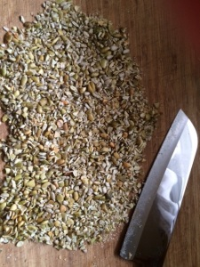 Seeds all roasted and chopped.
